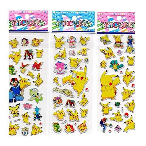 Set von 3 Blättern 3d Zufall Kleinen Pokemon Partei-Bevorzugungen Uk Verkäufer und kostenlose Lieferung