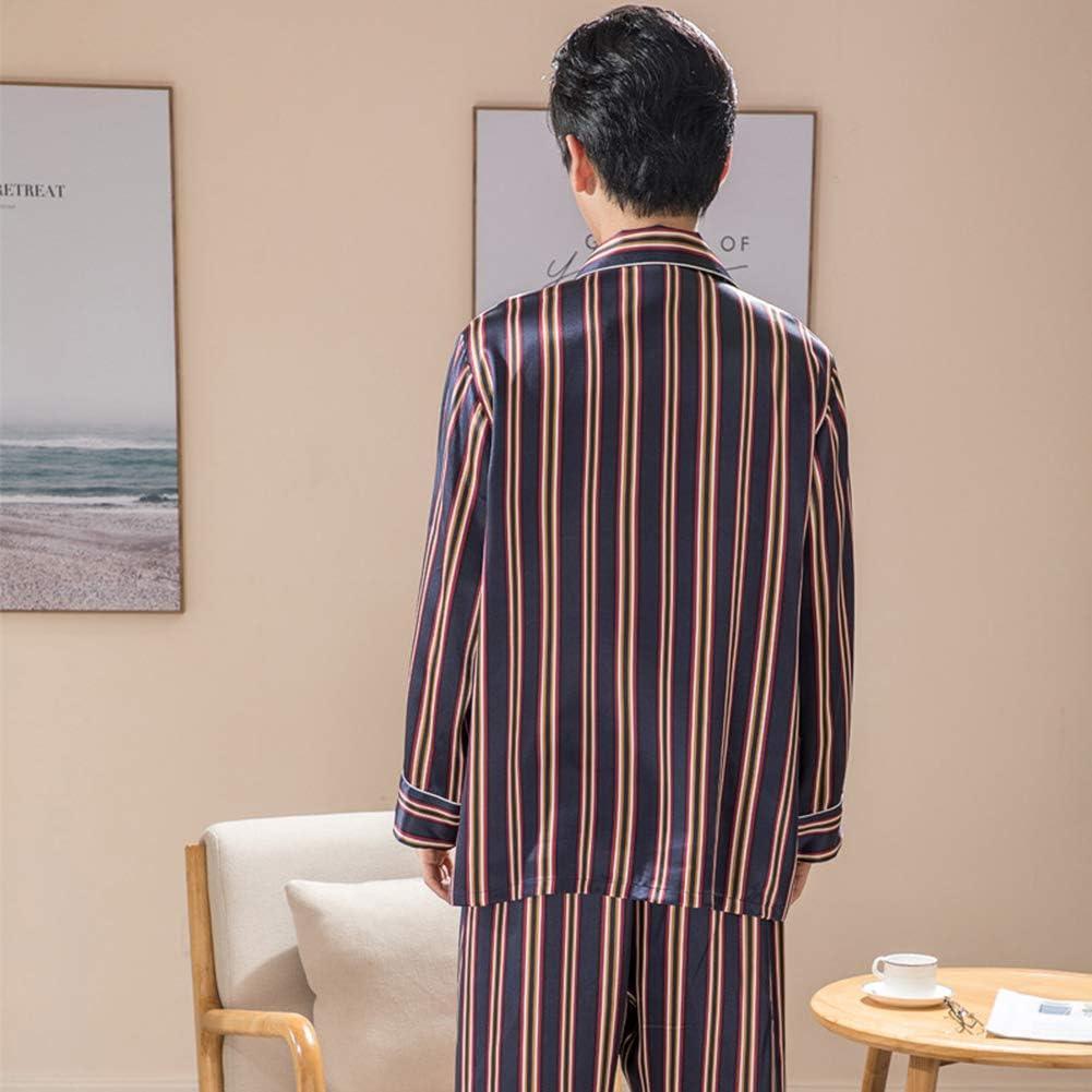 ZWLXY 100% Natural Silk Men Pajamas Long-Sleeved Pants Suit Sleepwear Men's Real Silk Pyjama Set Nightwear Home Clothing,Blue,XL