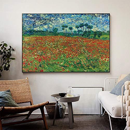 sanzangtang Oil Painting Artwork Van Gogh Poppy field Wall Art Pictures Living Room Bedroom Home Decor,30x45cm,Frameless painting