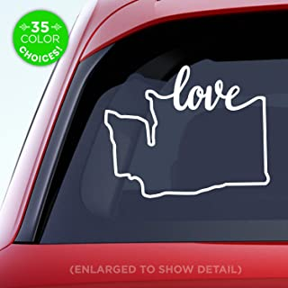 Washington State 'Love' Decal - WA Love Car Vinyl Sticker - Add a heart over Seattle, Olympia, Tacoma or Yakima - Made with outdoor vinyl