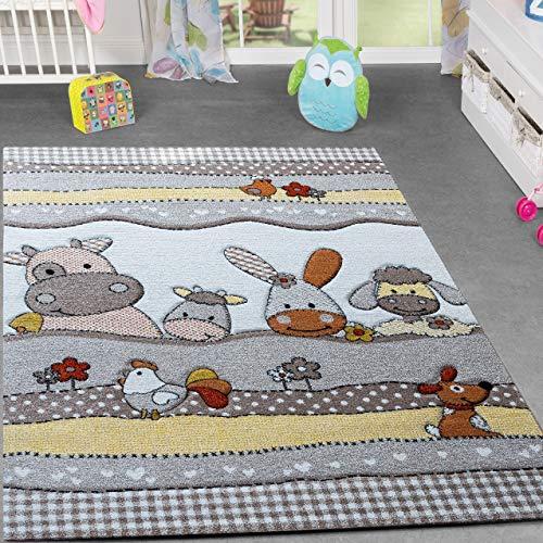 TT Home Kinder Teppich Bauernhof Design Lustige Tiere Kinderzimmer Teppiche Beige Creme, Größe:200x290 cm