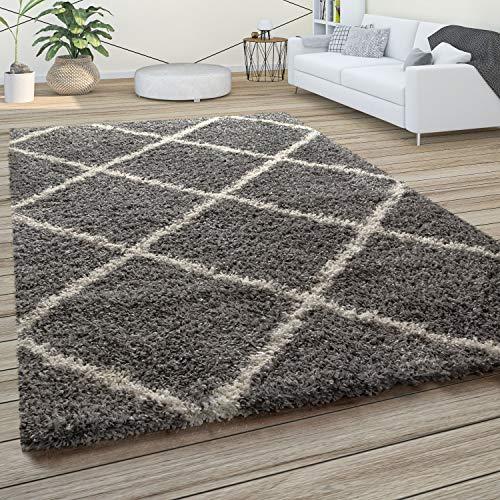 Paco Home Hochflor Teppich, Weicher Wohnzimmer Shaggy Skandinavischer Stil m. Rautenmuster, Grösse:160x220 cm, Farbe:Grau