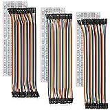 AZDelivery Breadboard Kit 3 x MB102 Breadboard y 3 x 40 Piezas Cables Puente Jumper Wire Pines Macho Macho, Hembra Hembra, Macho Hembra para Arduino con eBook incluido