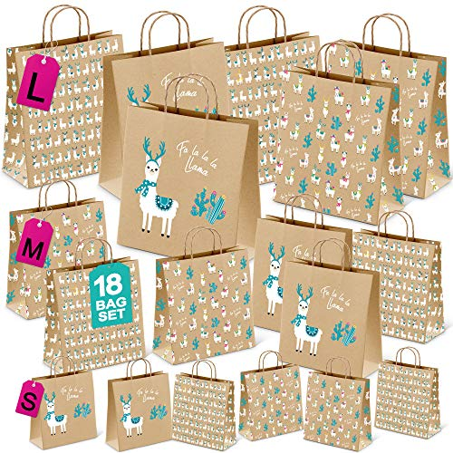 Christmas Gift Bags, Set of 18 bags, Assorted Sizes for wrapping presents, Llama Kraft Bags, SMALL MEDIUM LARGE, Adorable Festive Prints for Holiday Wrapping, Bulk Xmas Bag Set
