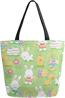 Womens Canvas Tote Bag Lovely Bunny Rabbit Duck Large Shopping Bag Shoulder Handbag