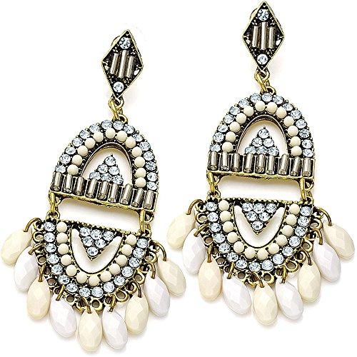 Inka-Stil brüniert Gold 9 cm baumelnd lang Kristall & Creme Perlen Ohrringe Trachtenschmuck