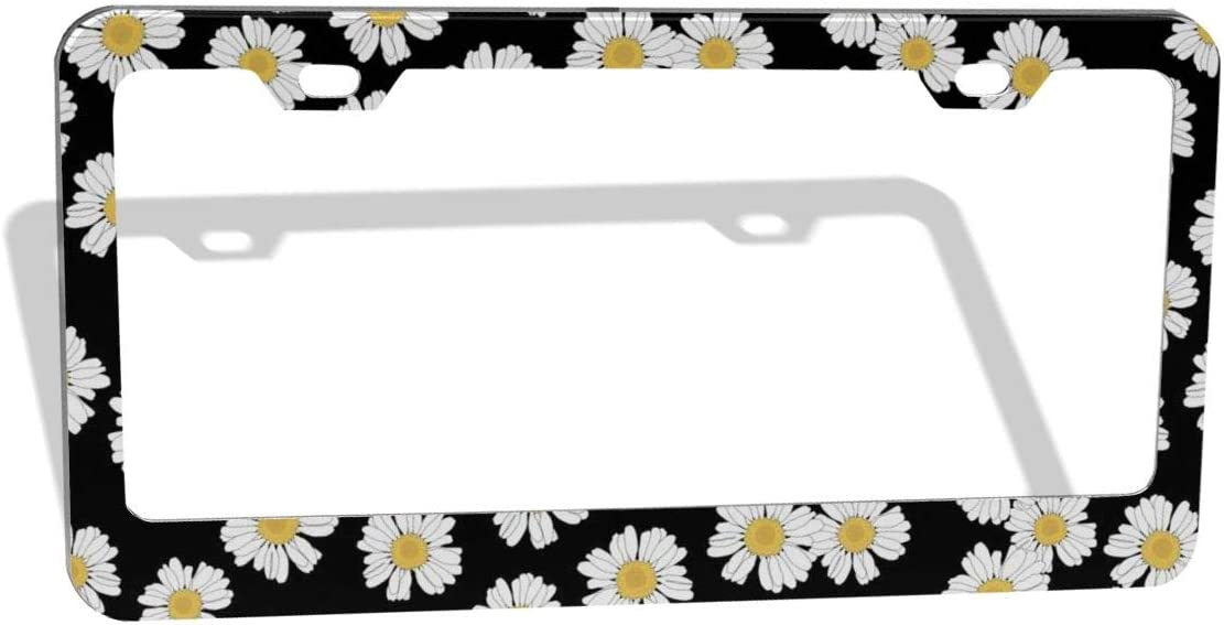 DZGlobal White Daisy Black Sacramento Mall Price reduction Decorative - Frame Plate Cust License