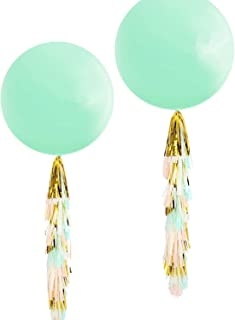 Fonder Mols 36'' Mint Green Round Balloons with Mint Peach Ivory Gold Tassel Garland for Wedding Baby Shower, All Event & Party Supplies(Set of 2)