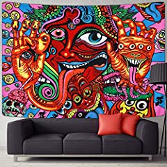 ELEGANT DESIGN: Psychedelic arabesque tapestry designed with colorful magical face tongue, the image clearly, use this hippie tapestry in your room, will make your room full of mysterious. HIGH QUALITY MATERIAL: Mysterious hippie Tapestry is made of ...