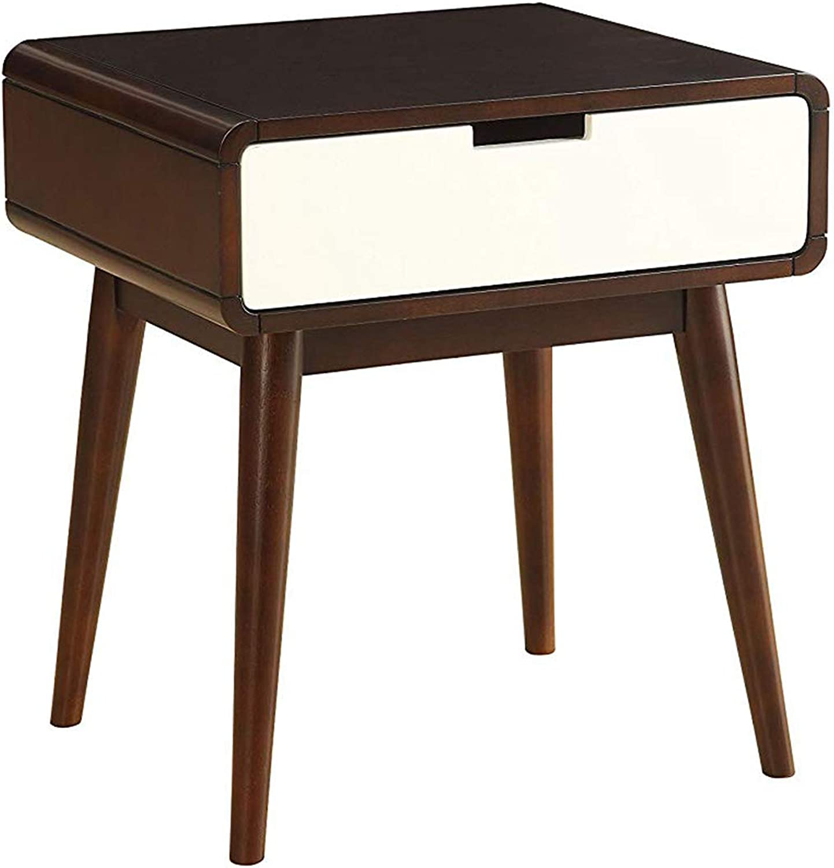 Benzara BM154586 Christa End Table (USB Power Dock) Espresso White