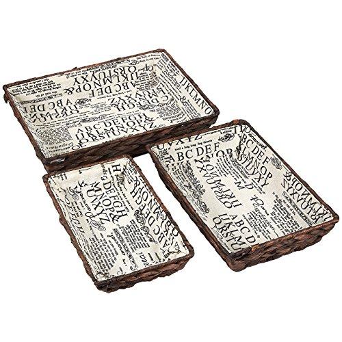 Juvale Cesta de mimbre, cestas de almacenamiento tejidas (marrón, juego de 3 piezas)