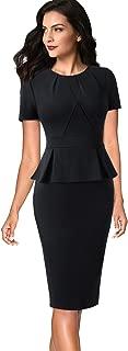 Womens Pleated Crew Neck Peplum Wear to Work Office Sheath Dress