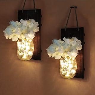 2 piezas de apliques de pared rústicos, Yofuly Decoración de madera rústica vintage para el hogar, ganchos de hierro forjado, hortensias de seda y luces de tira LED para la decoración del hogar