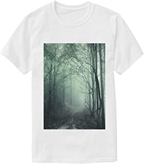 N /A Forest Animals Vector Illustrations Set White T Shirt Cotton Tee Shirts Casual Summer Graphic Tshirts for Men