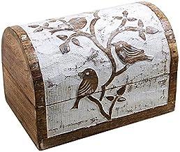 STORE INDYA Thanksgiving Keepsake Jewelry Storage Box White and Brown Birds Design Wooden Multipurpose Tools Holder