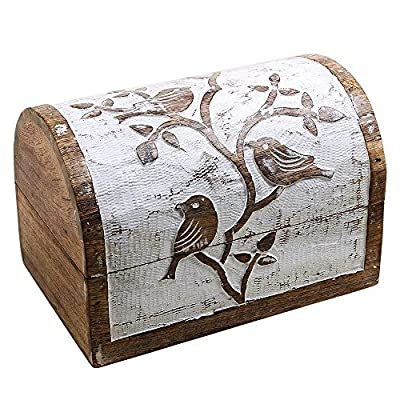 Brown and White Wooden Bird Keepsake Box