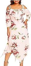 Dames Jurken Zomer, Mode Vrouwen Off Shoulder Sling Bandjes Plus Size Lace Up Maxi Vloeiende Bloemenprint Onregelmatige Zo...