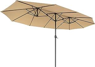 SONGMICS Dubbele parasol 460 x 270 cm, extra grote parasol, tuinparasol, UV-bescherming tot UPF 50+, terrasparasol, met zw...