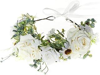 FIDDY898 Women Flower Headband Wreath Crown Floral Wedding Garland Wedding Festivals Photo Props R-IVORY