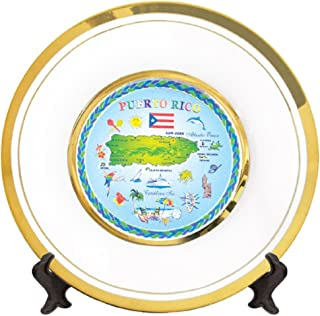 Plate Puerto Rico Gold Rimmed Map Ceramic souvenir and Gift Decorative Plate 6