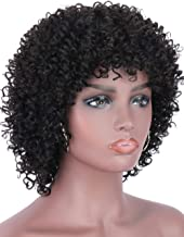 "Beauart 11"" Brazilian Remy Black 100% Human Hair Wigs Afro Kinky Curly Wigs for Black Women Full Head Kinky Curls Wig with Hair Bangs"