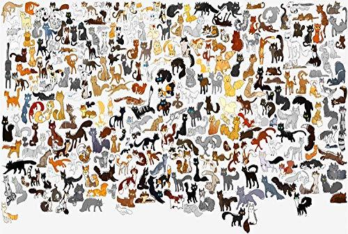 Mural Puzzle Rompecabezas De 5000 Piezas, Libro De Ilustración De Gato Adulto, Regalo De Amistad, Ocio, Entretenimiento, Decoración De Fiesta
