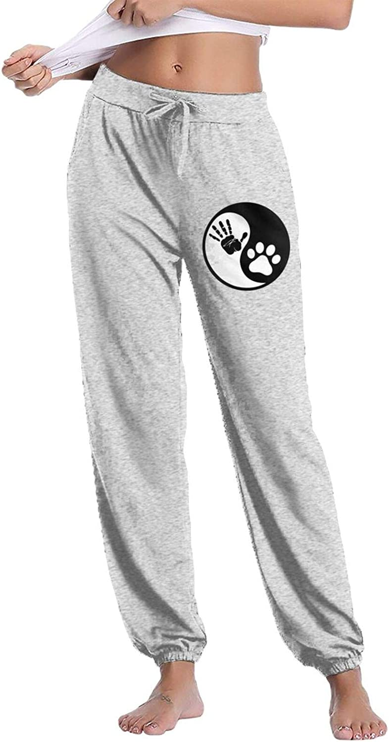 Hand and Paw Women's Cotton Long Pants with Pockets Workout Casual Sweatpants Drawstring Waist Jogger
