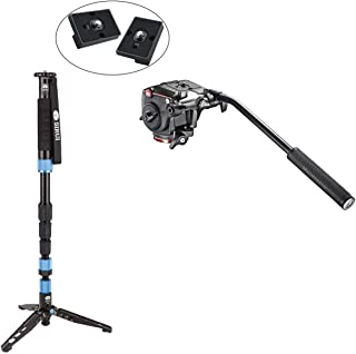 Sirui P-204S Aluminum Lightweight Photo/Video Monopod with Manfrotto XPRO Fluid Head with Fluidity Selector Plus Two Bonus Replacement Quick Release Plates for the RC2 Rapid Connect Adapter