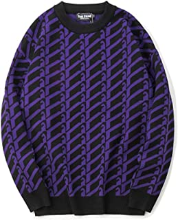 LIUFULING Men's Autumn and Winter Rhombic Jacquard Loose Casual Sweater (Color : Purple, Size : L)