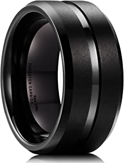 King Will Basic 10mm Tungsten Carbide Ring for Men Matte Polished Wedding Engagement Band Comfort Fit