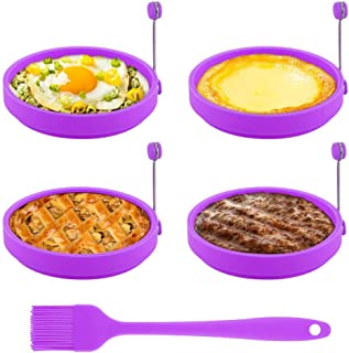 Egg Ring, TGJOR Egg Cooking Rings, Round Pancake Mold, Non Stick Silicone Ring for Eggs, 4 Pack Reusable Fried Egg Mold with an Oil Brush (Purple)