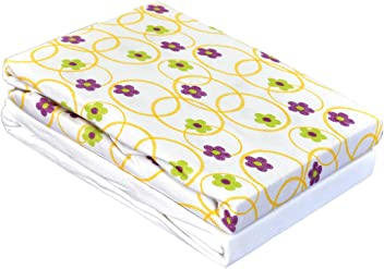 Cream Dudu N Girlie 100 Percent Cotton Bed Cot Fitted Sheets 72 cm x 72 cm 3-Piece