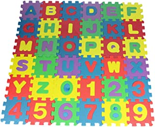 CLISPEED Lot de 36 tapis de sol puzzle pédagogique en plastique Tapis de sol Mousse Jouet éducatif Carreaux en mousse embo...