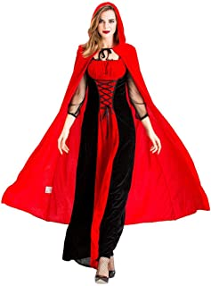 Halloween Cloak for Women Cosplay Vintage Style Witch Gothic Middle Ages Dress Red Riding Hood Costume Christmas