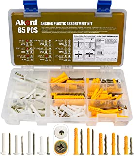 AKORD Anchor Plastic Assortment Kit, Nylon Mushroom Head, Yellow Screw Hole Fillers, for Drywall, Hollow Wall, 2 Types & 8...