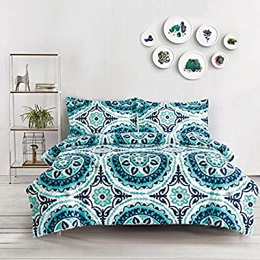 Teal Comforter Set Queen, 3-Piece Turquoise Bohemian Boho chic Mandala Medallion Pattern Printed on White, Soft Microfiber Bedding (3pcs, Queen Size)