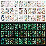 Zayvor Temporary Tattoos For Kids, 400pcs Glow In The Dark Tattoos,Assorted Cartoon Luminous Unicorn Mermaid Butterfly Animal Dinosaur Pirate Space Fake Tattoo, Boys Girls Party Favor Supplies