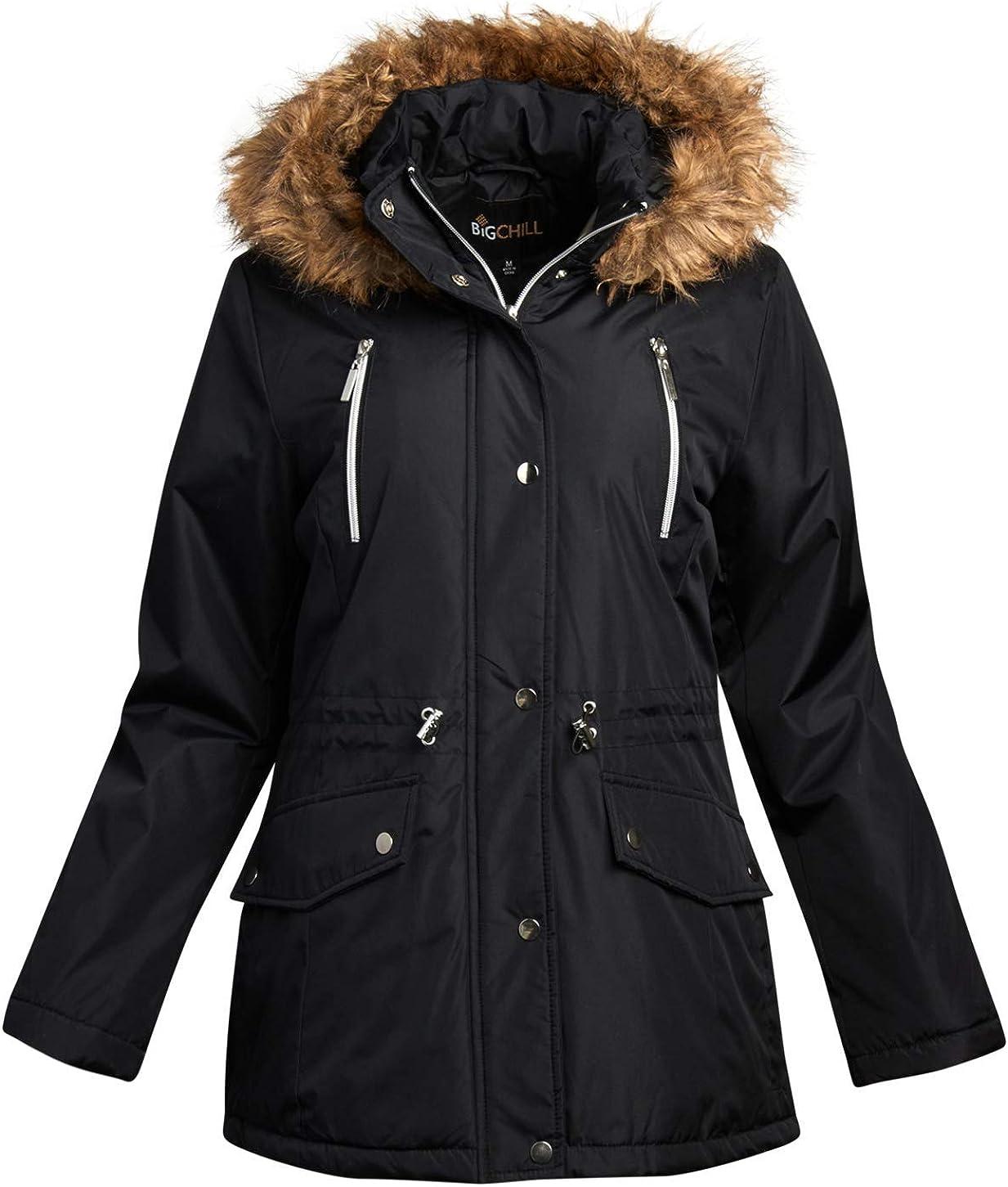 Big Chill Women's Winter Coat – Heavyweight Parka Anorak Long Length Jacket with Faux-Fur Trim Hood