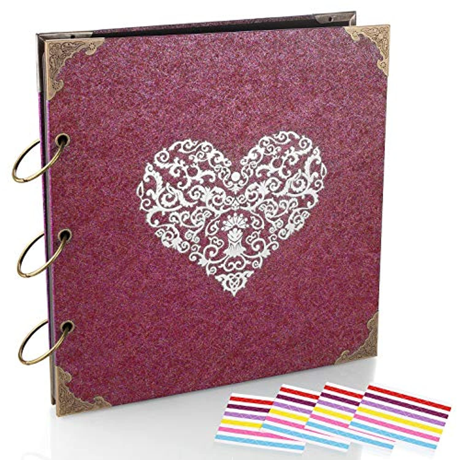 ADVcer Photo Album and DIY Scrapbook, 10x10 inch 50 Pages Double Sided, Vintage Hardcover Three-Ring Binder Picture Booth Albums with 6 Colors 408pcs Self Adhesive Photos Corners for Memory Keep (Red)