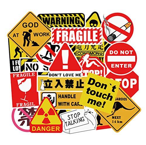 QIANGWEI 50 Waarschuwingsborden Koelkast Gitaar Speelgoed Spoof Kruk Doodle Sticker Trolley Case Diy Auto Sticker Pvc