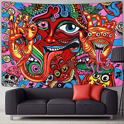 WERT Tapiz Colgante con patrón psicodélico, Manta de Playa, Alfombra Hippie, decoración del hogar, Mandala, Tapiz de Pared A10 95x73cm