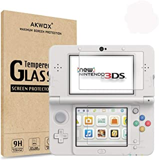 [2-Pack] Akwox for New Nintendo 3DS Tempered Glass Top LCD Screen Protector with HD Clear Crystal PET Buttom LCD Screen Pr...