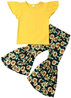 Kid Baby Girls Clothes Toddler Baby Girls Ruffle Sleeve T-Shirt Tops+Sunflower Pants Outfit Set