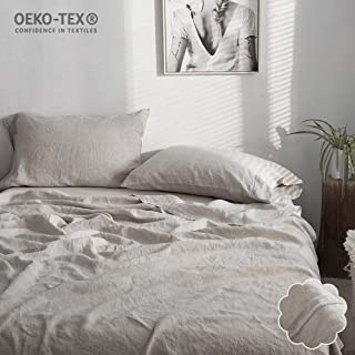 Simple&Opulence 100% Linen Sheet Set Embroidery(Twin,Embroidery Linen)