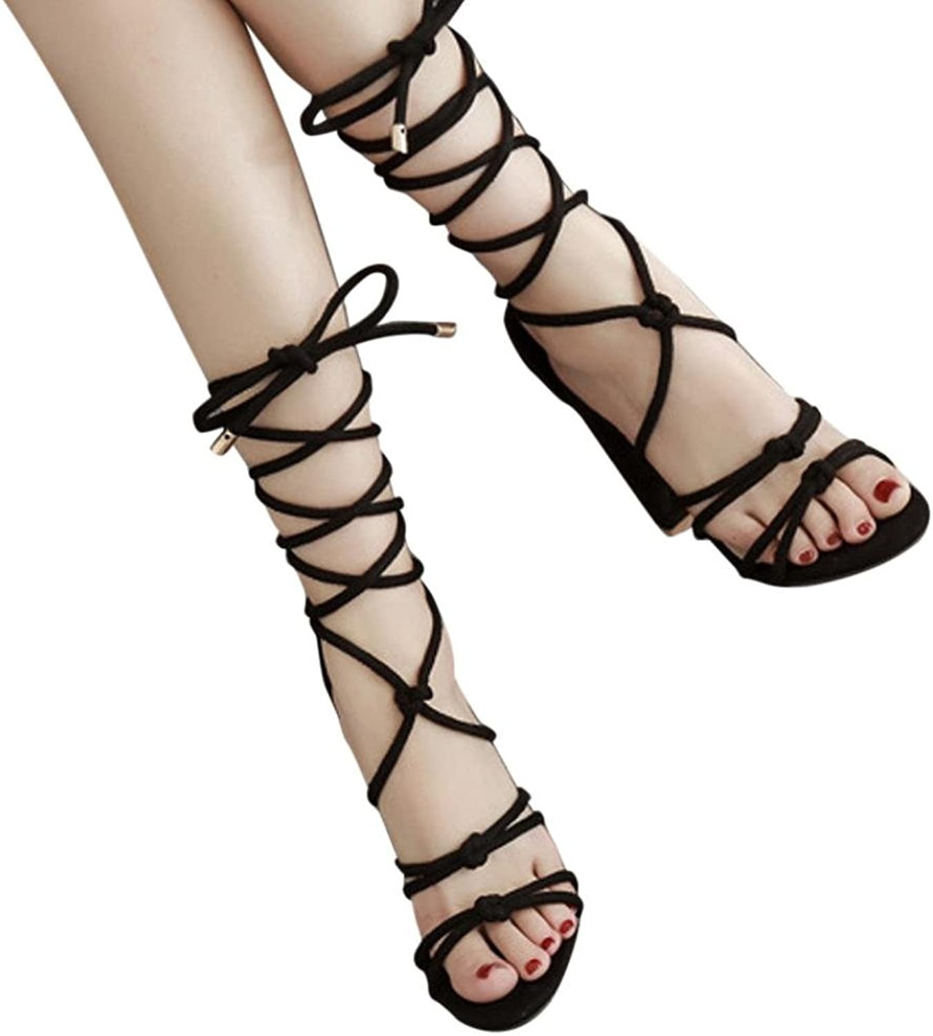 Baigoods Roman Strap shoes Women Sandals Sexy Sandals Solid High Heels Woman Ankle Square Heel Boots