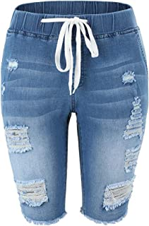 THUNDER STAR Womens Denim Ripped Bermuda Shorts Distressed Knee Length Stretch Short Jeans