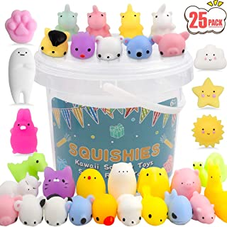 POKONBOY 25 Pack Mochi Squishy Toys Mini Animal Squishies Easter Party Favors for Kids Bulk Mini Kawaii Squishies Mochi Animals Stress Reliever Anxiety Toys Squishy Cat Squishys with Storage Box
