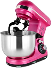 Stand Mixer Double Shaft, MURENKING 4-Qt 300W Tilt-Head 6 Speed Electric Food Mixer Kitchen MK18C, Stainless Steel Bowl, Double Hooks, Beater, Wire Whip and Splash Guard(Pink)