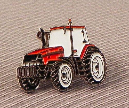 Metall-Emaille-Anstecker, Motiv: Traktor, Rot