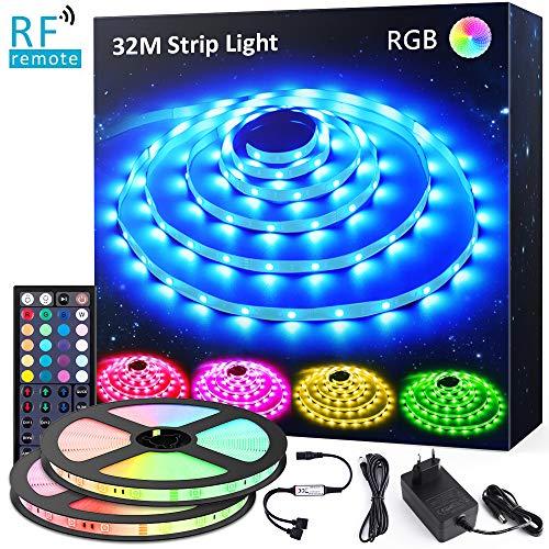 Novostella LED Strip RGB 32M Dimmbar LED Band Streifen Lichtband Stripe Komplettset mit 44-Taste RF Fernbedienung Netzteil Selbstklebend 5050 SMD 960 LEDs 24V Innenbeleuchtung für Haus Küche Party